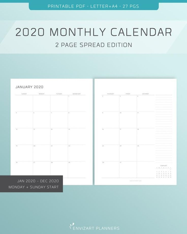 2020 printable monthly calendar 2 page layout monday
