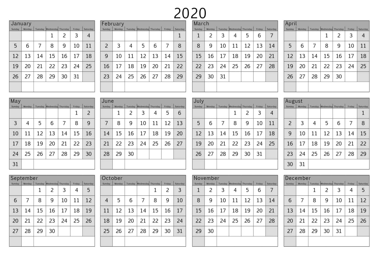 2020 year calendar with space to write calendar