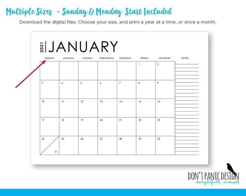 2021 & 2020 large modern printable monthly wall calendar