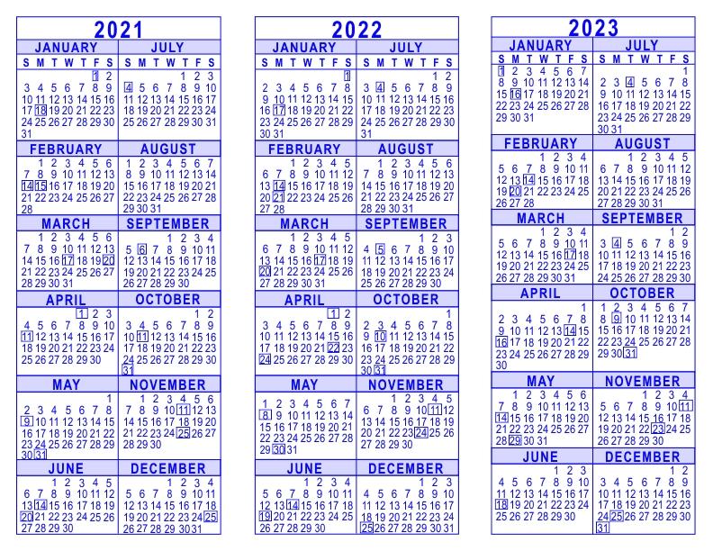 2021 2022 2023 3 Year Calendar