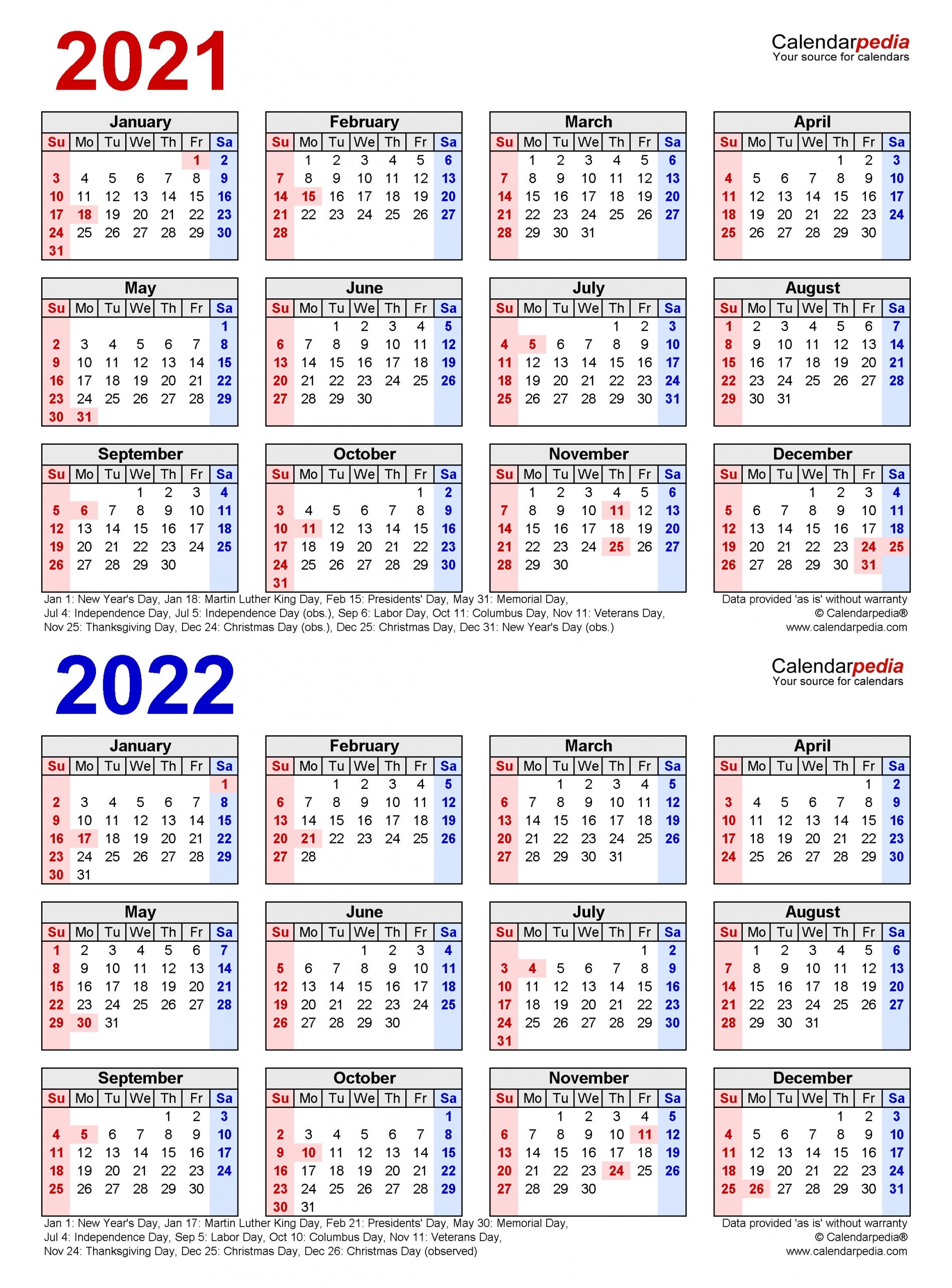 2021 2022 two year calendar free printable word templates