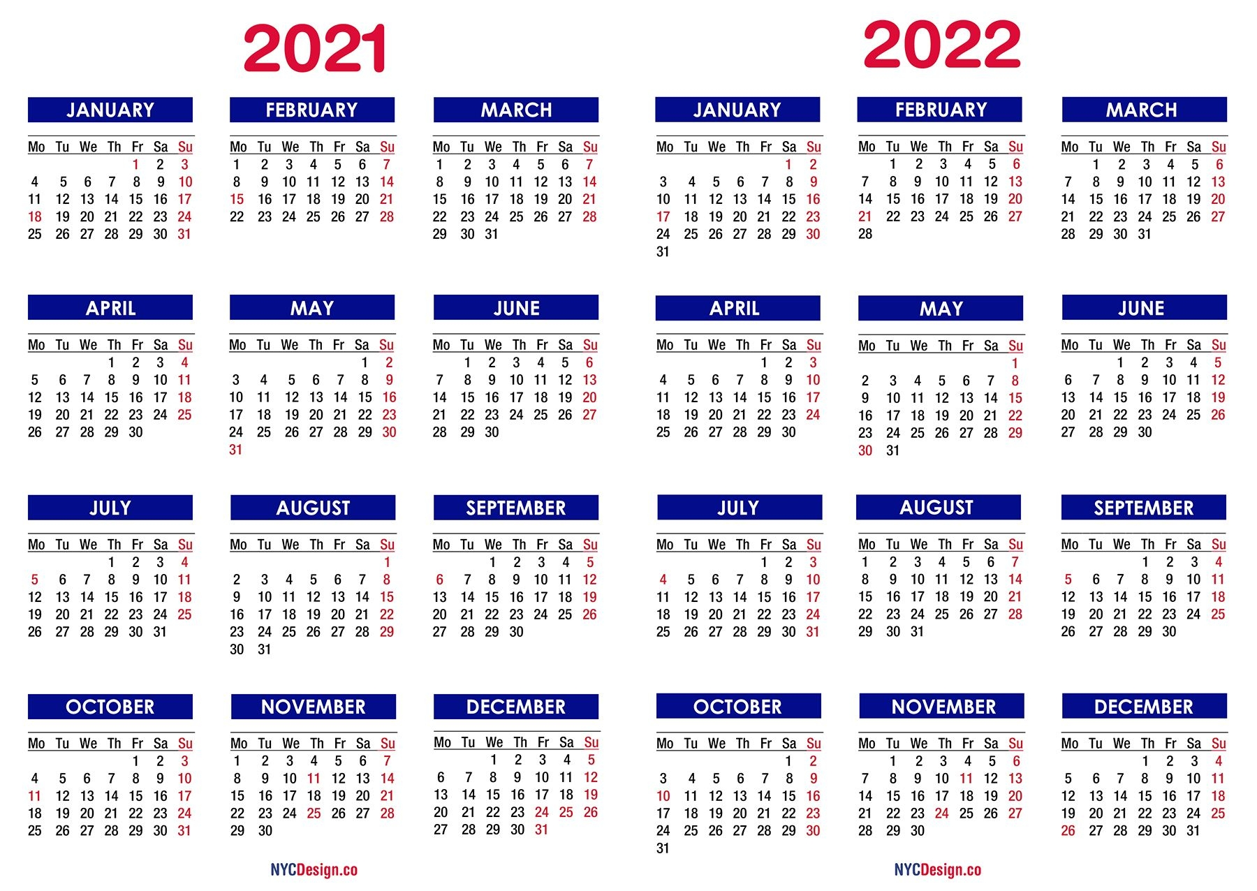 2021 2022 two year calendar with holidays, printable