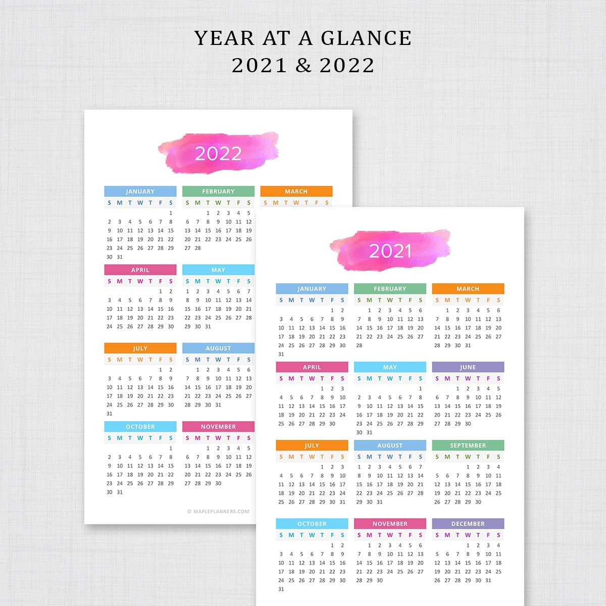 2021 2022 Year At A Glance Half Letter | Yearly Calendar