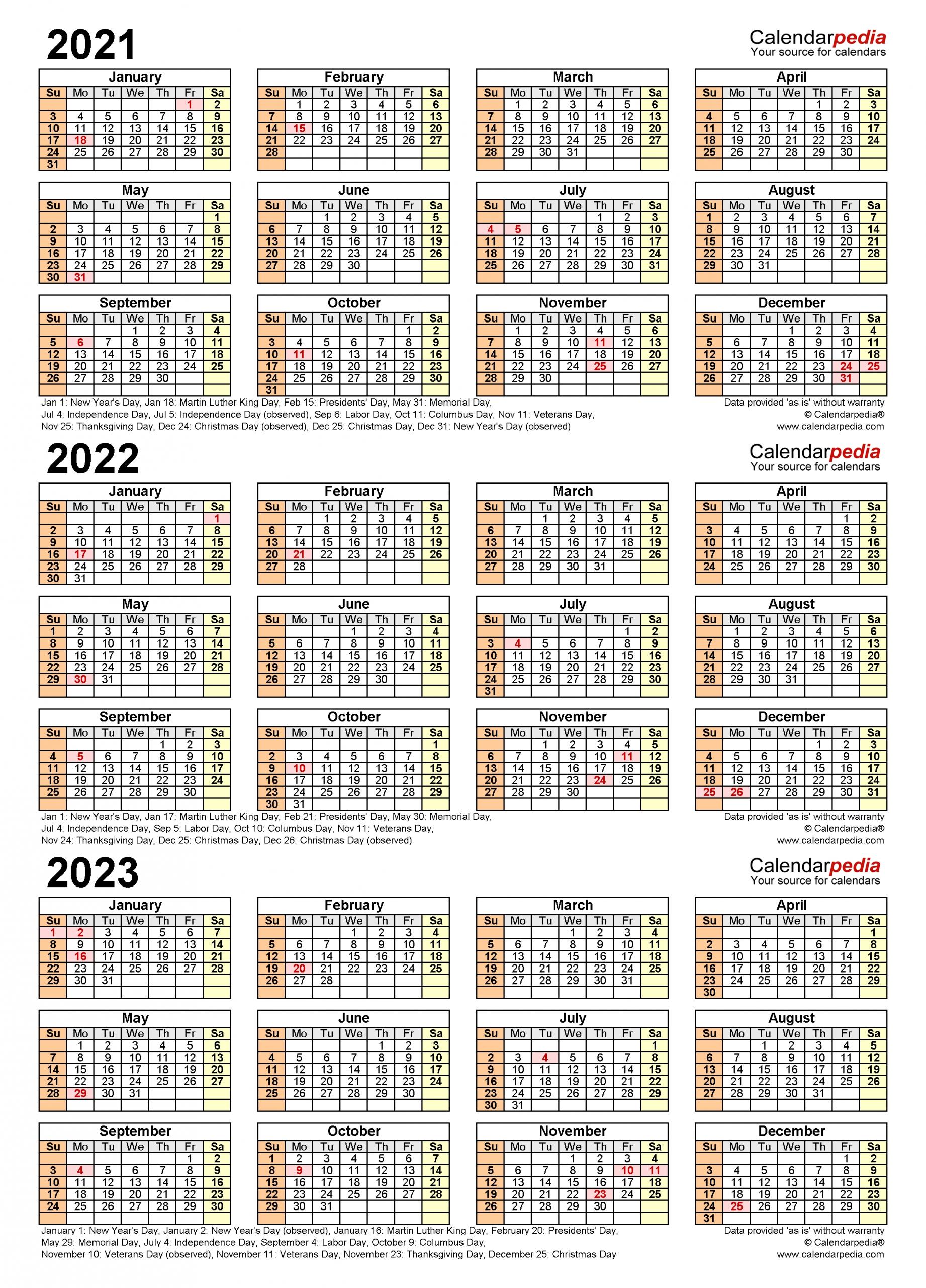 2021 2023 Three Year Calendar Free Printable Excel Templates