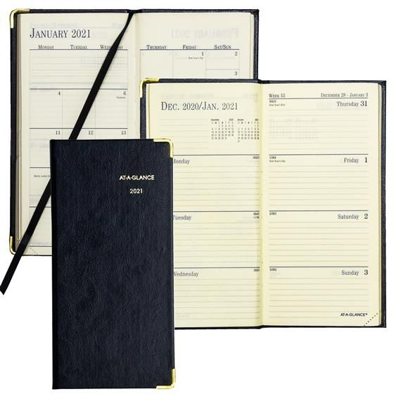 2021 at a glance 70 1110 fine diary weekly planner, 3 1/8