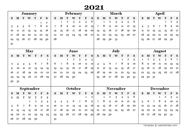 2021 Blank Yearly Calendar Template Free Printable Templates