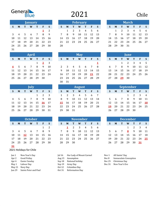 2021 calendar chile with holidays