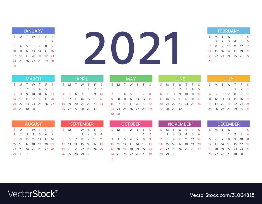 2021 calendar color template year planner vector image