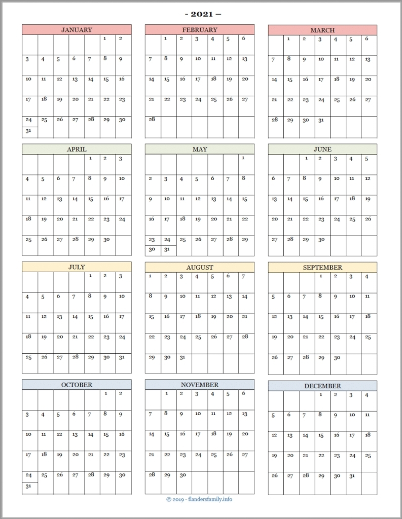 2021 Calendar Month At A Glance | Month Calendar Printable