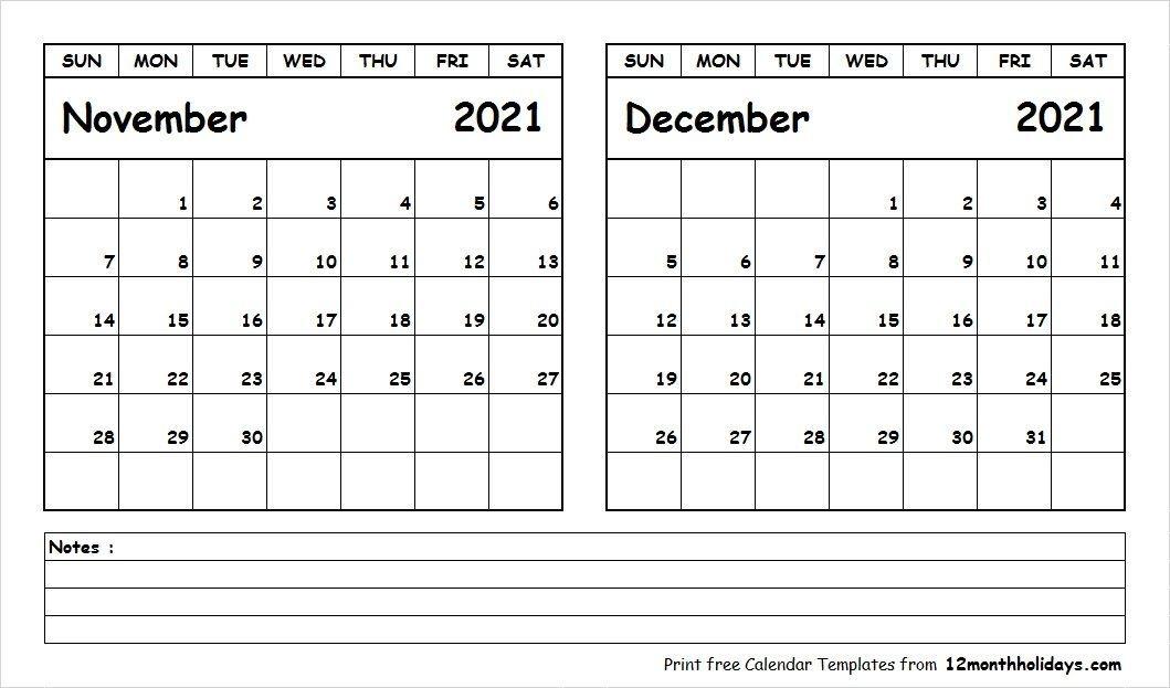 2021 Calendar November December | Calendar 2021