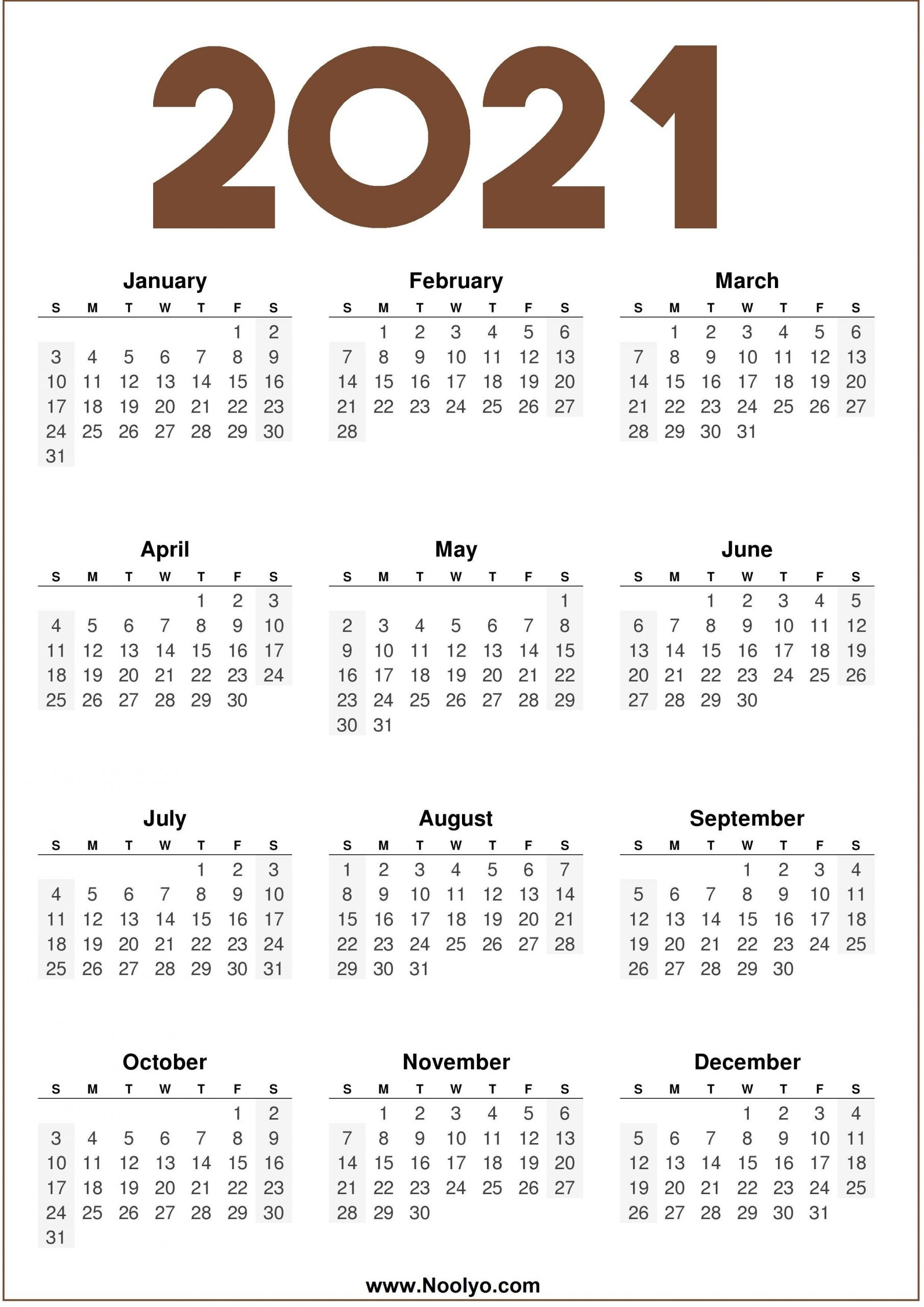 2021 calendar one page printable noolyo
