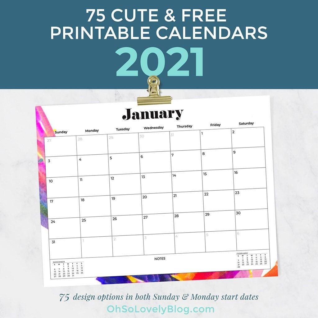 2021 Calendar Printable Free Archives Oh So Lovely Blog