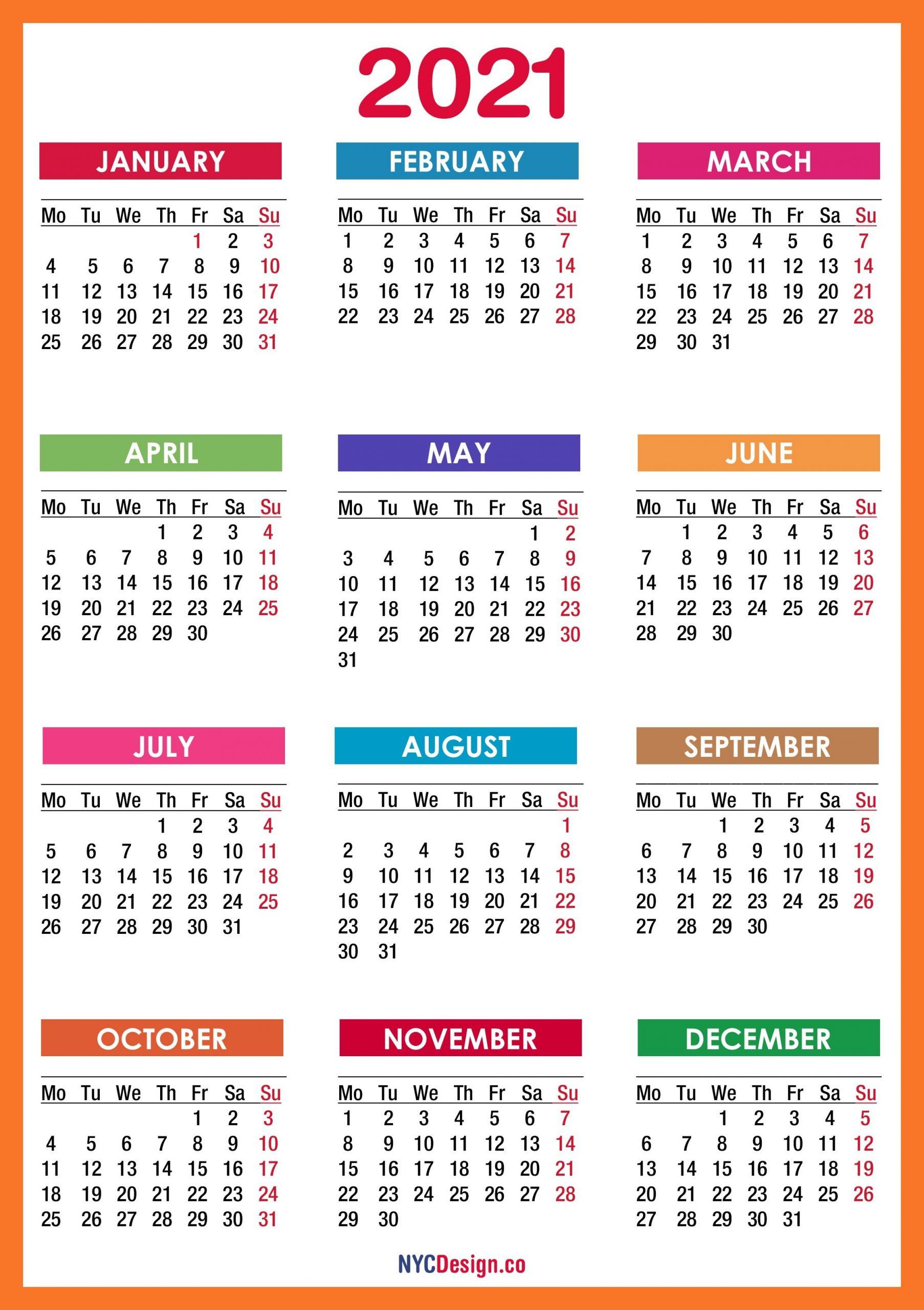2021 Calendar Printable Free, Pdf, Colorful, Red, Orange
