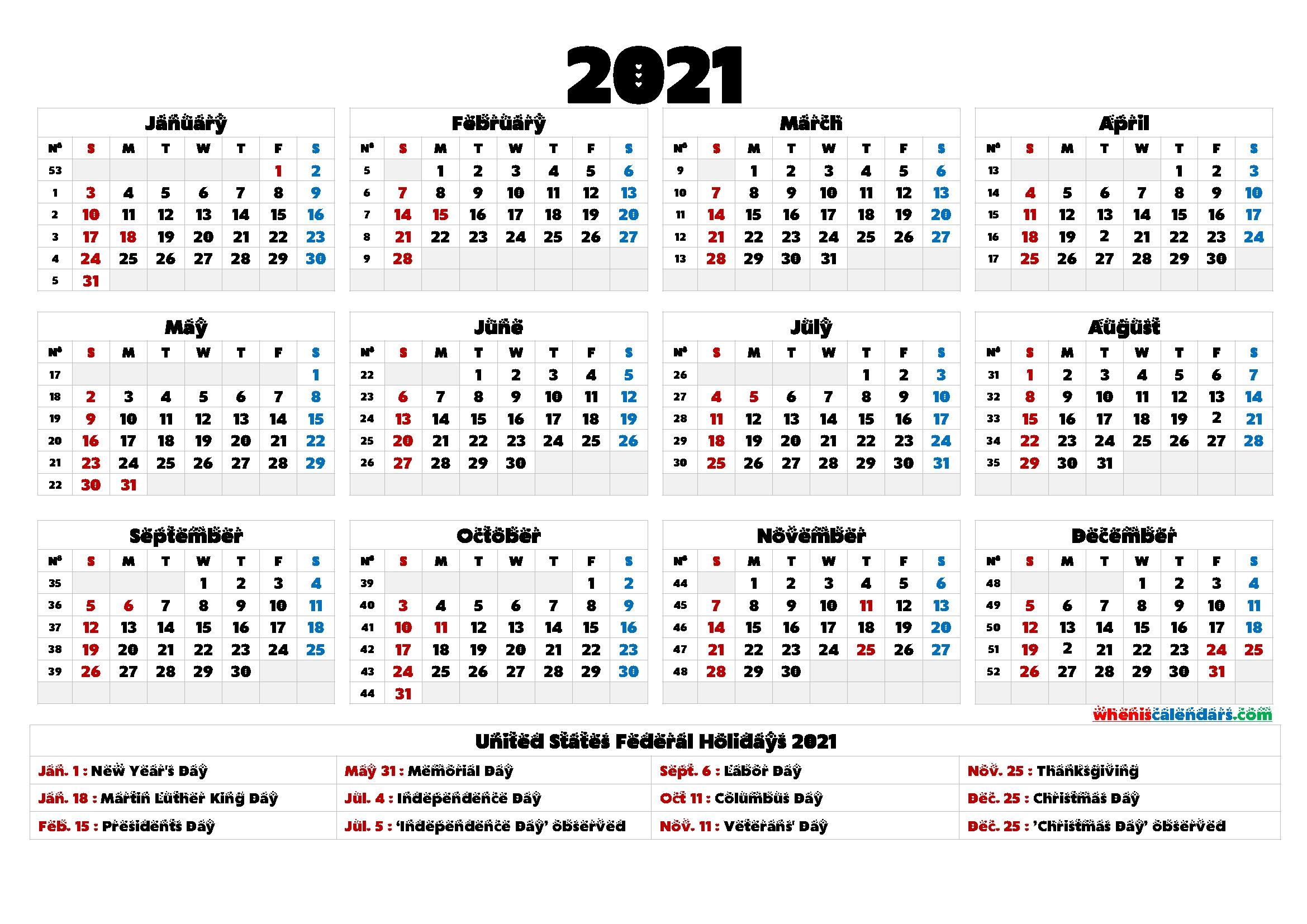 2021 calendar printable one page 9 templates
