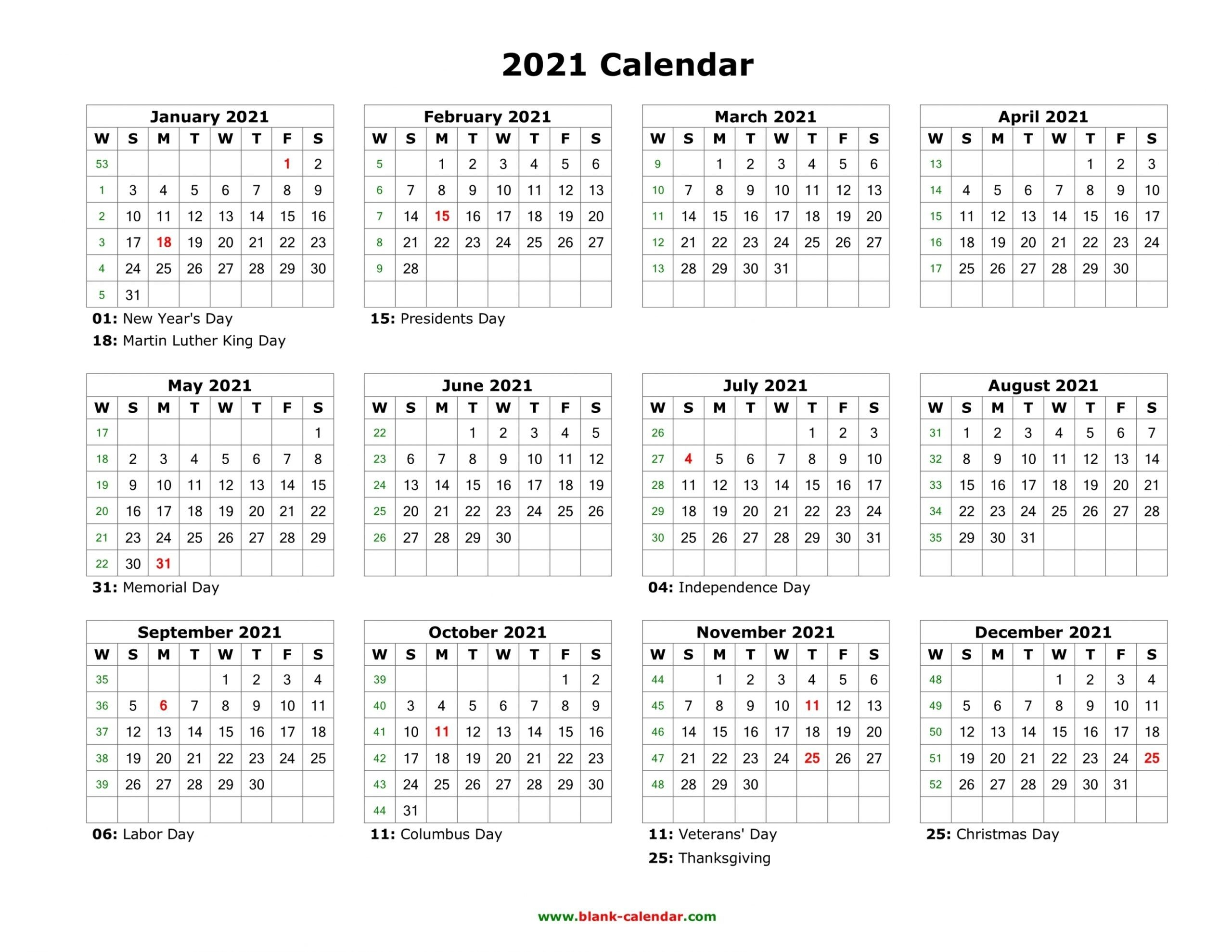 2021 calendar printable one page | free letter templates
