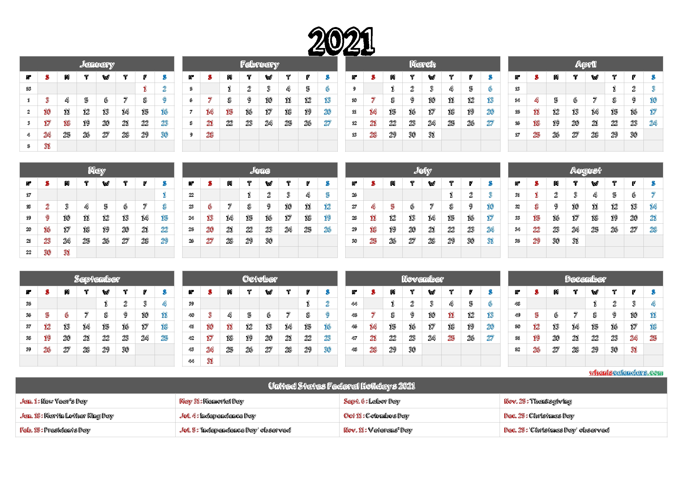 2021 calendar printable pdf 12 templates free 2020 and