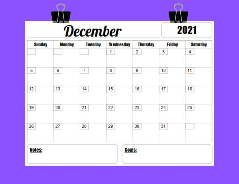2021 Calendar Printable Template 12 Month 8 5 X 11 Instant