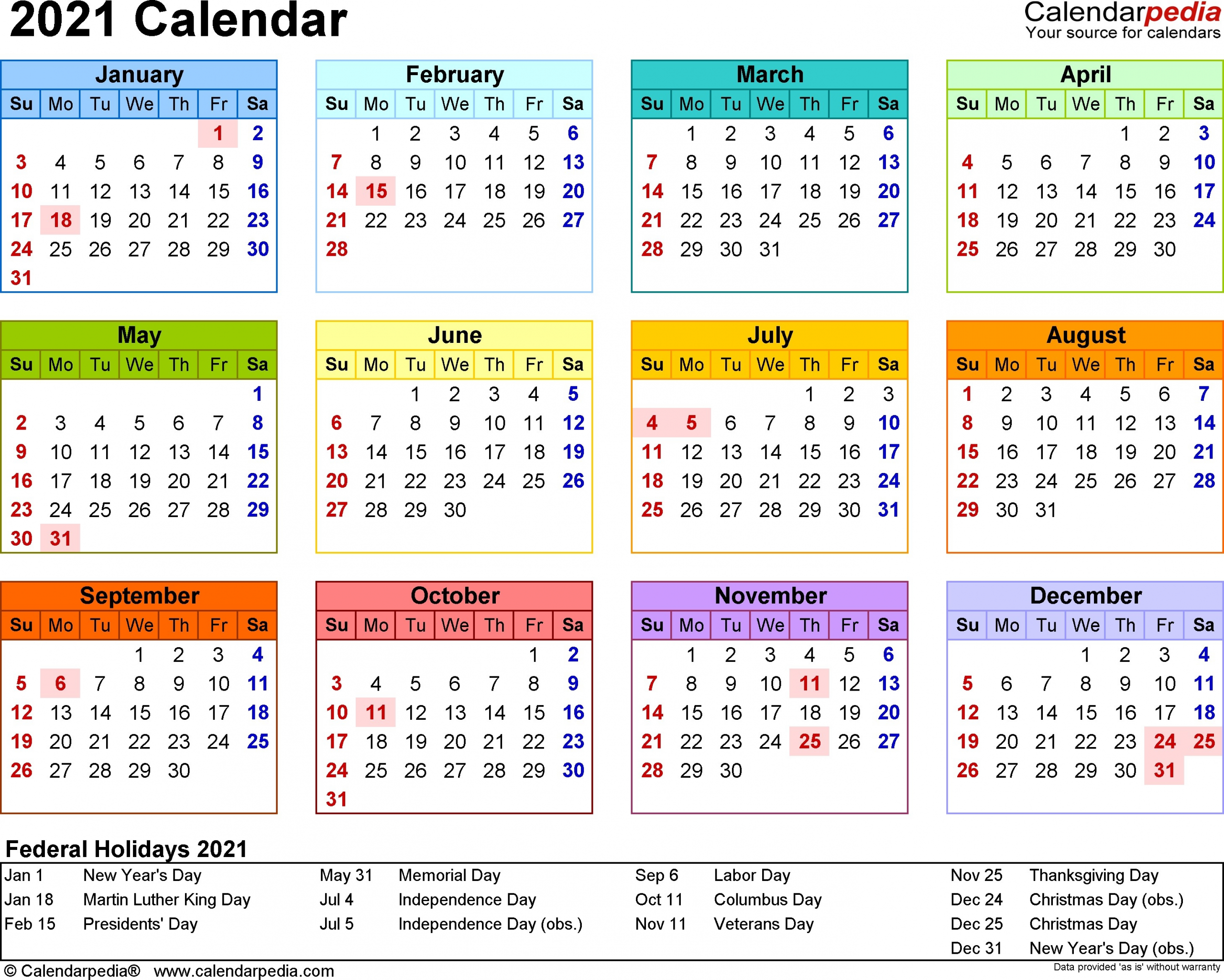 2021 calendar template 3 year calendar full page | free