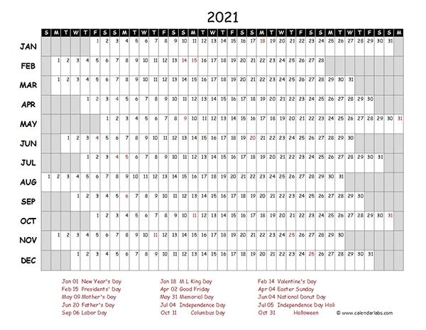 2021 Calendar Template Excel