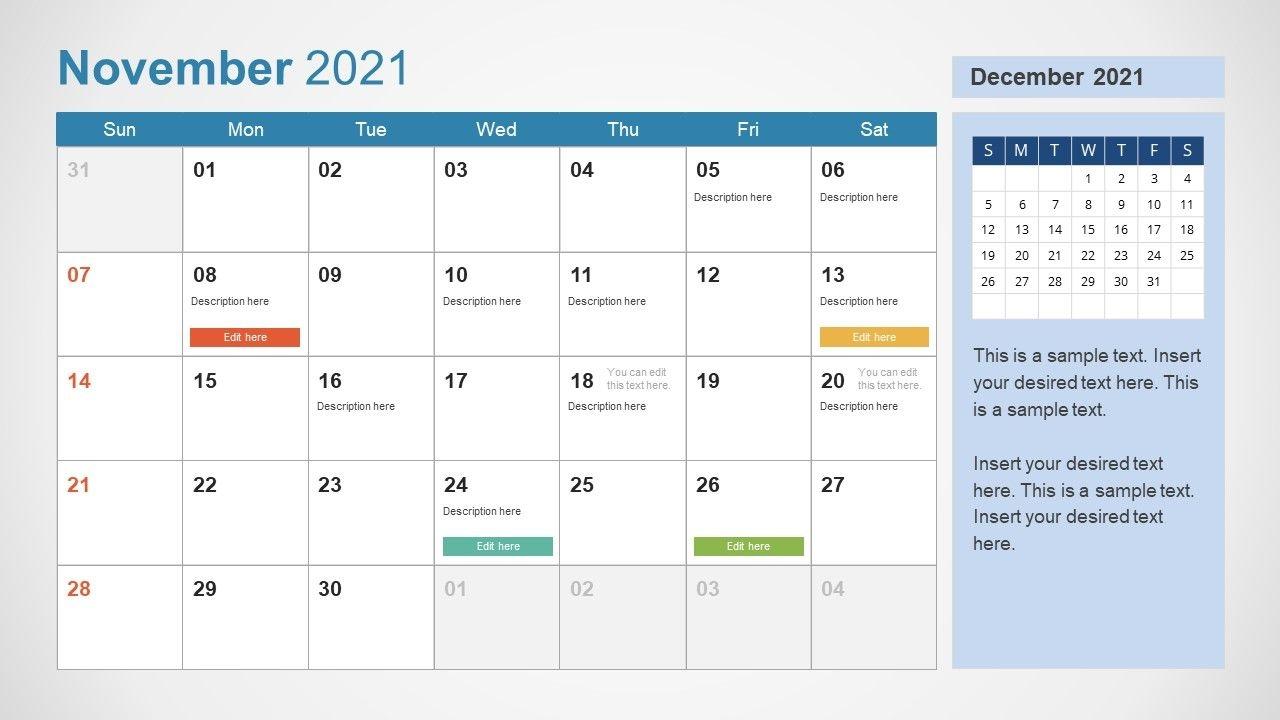 2021 calendar template november powerpoint slidemodel
