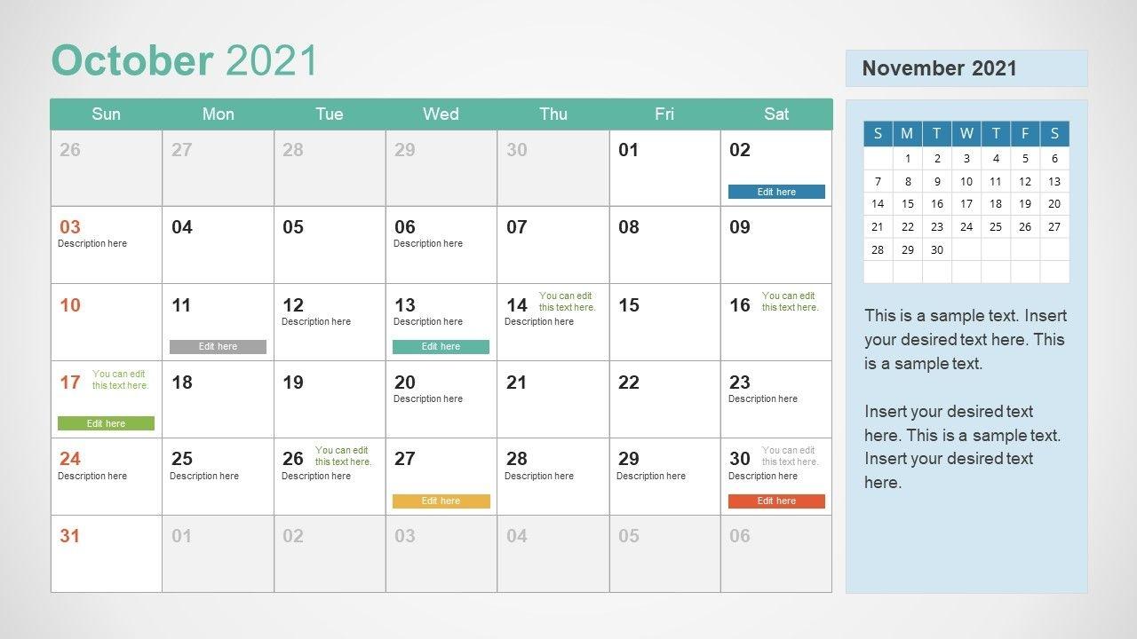 2021 calendar template october powerpoint slidemodel