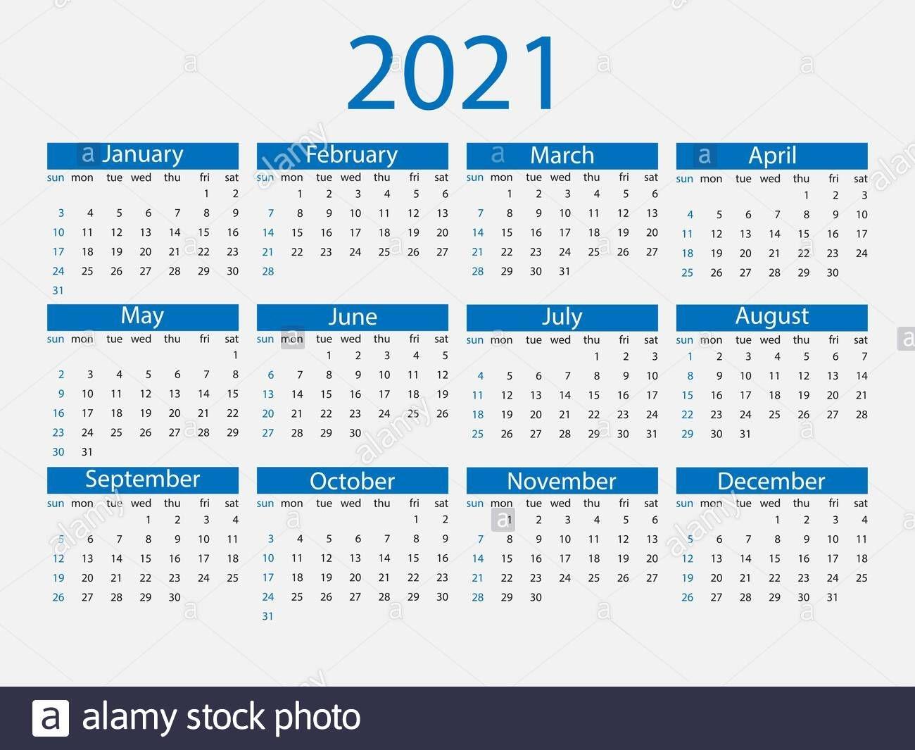 2021 calendar, week starts sunday vector illustration