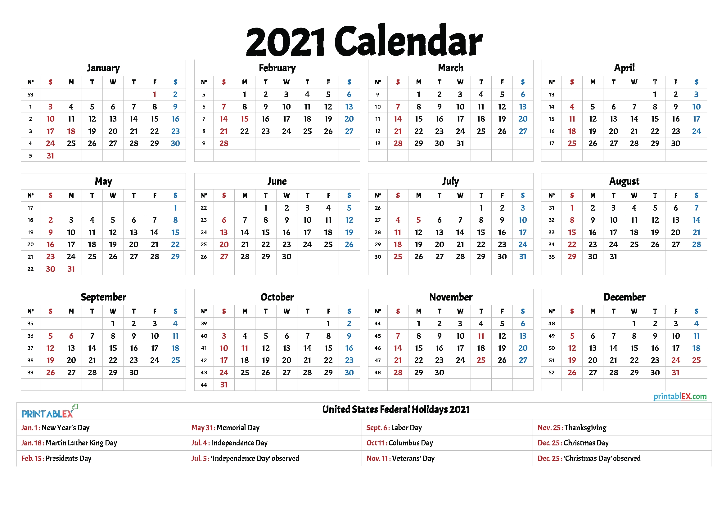 2021 calendar with federal holidays | free 2021 printable