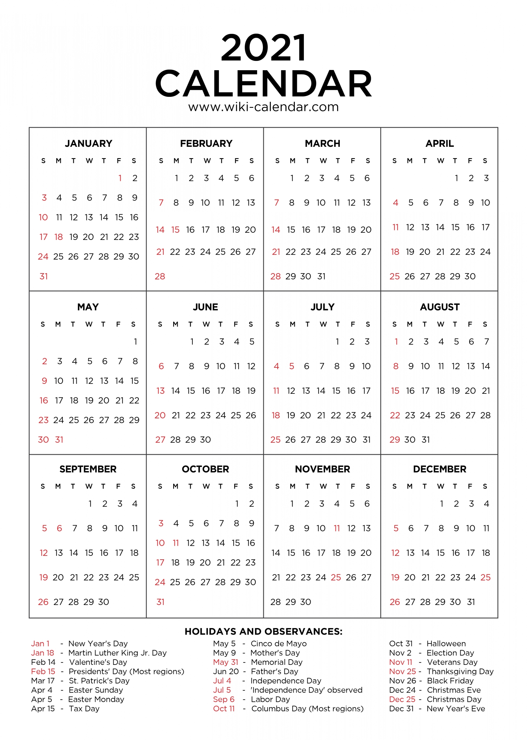 2021 calendar with holidays printable | calendar template