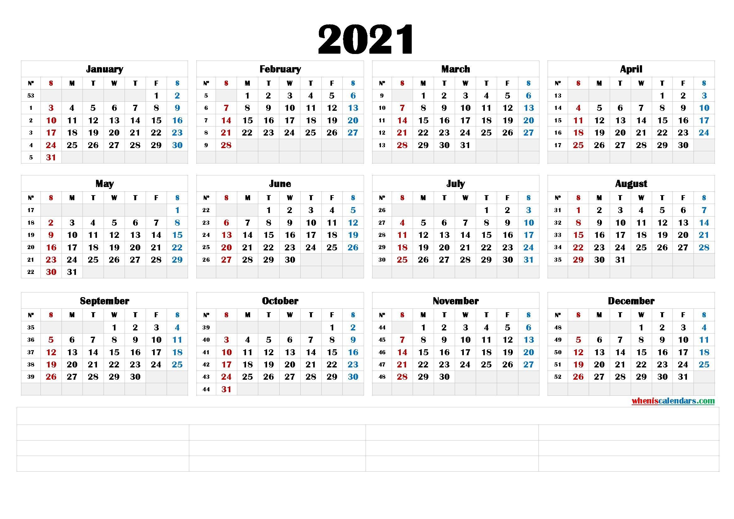 2021 calendar with week number printable free : free