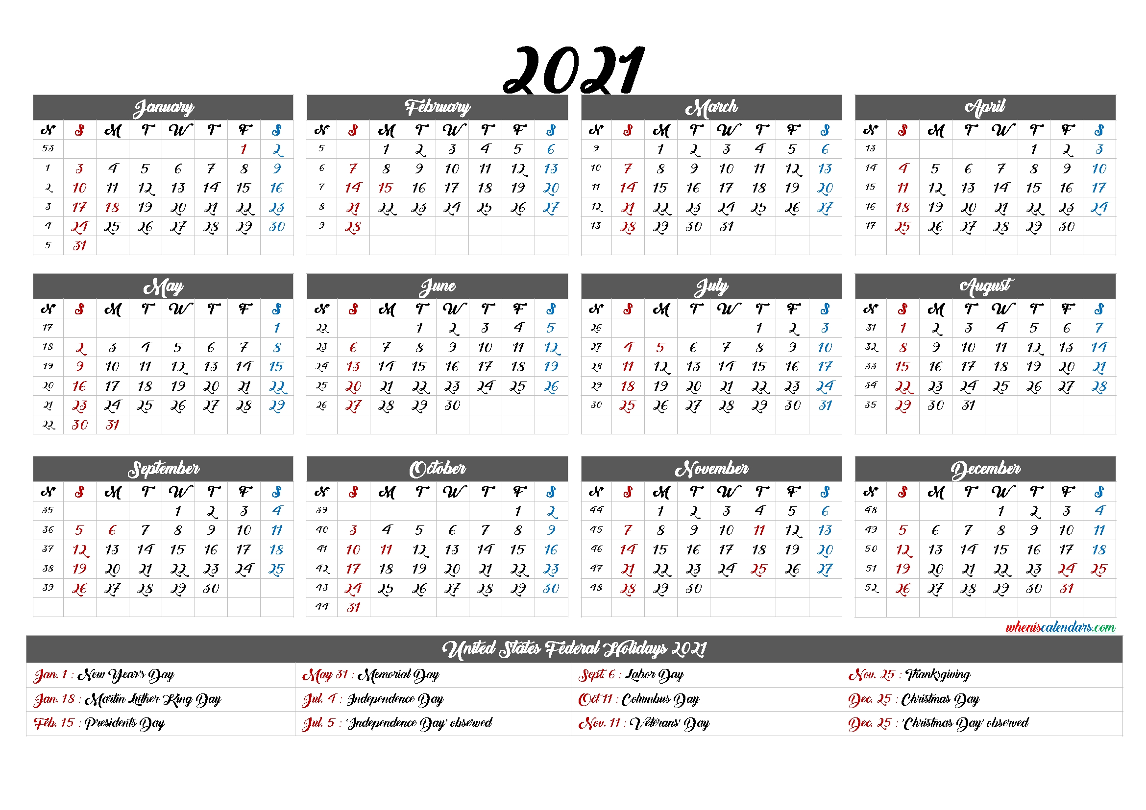 2021 Calendar With Week Numbers 6 Templates