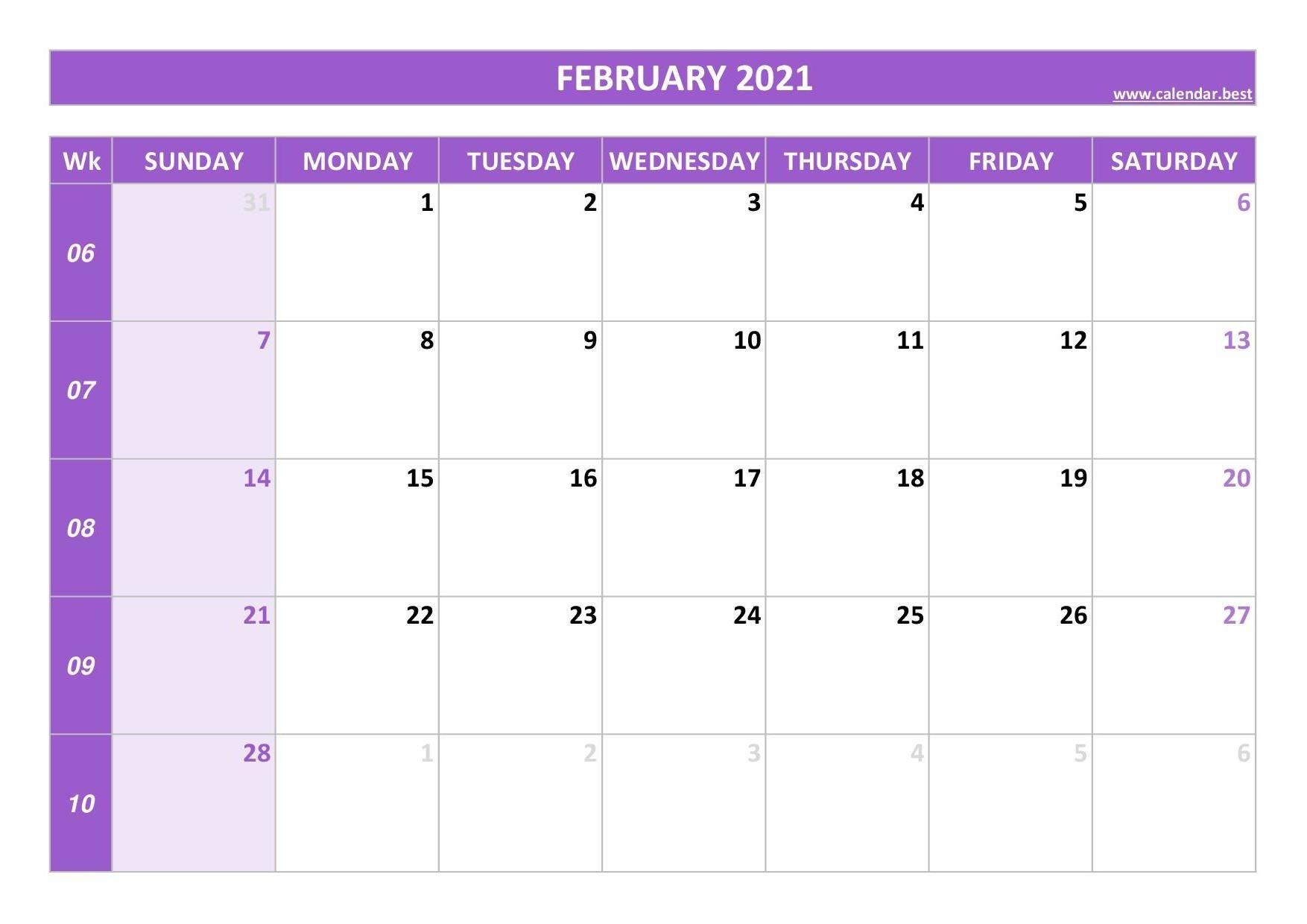 2021 Calendar With Week Numbers Calendar Best