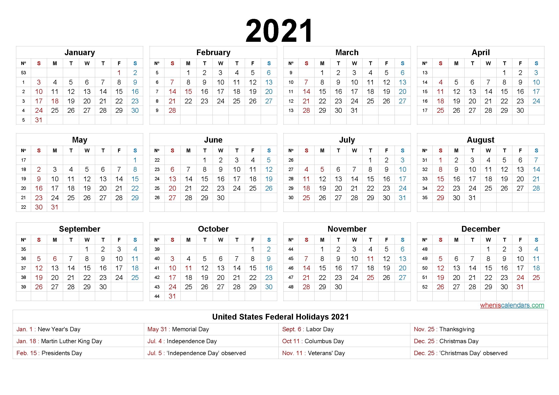 2021 calendar with week numbers printable 9 templates