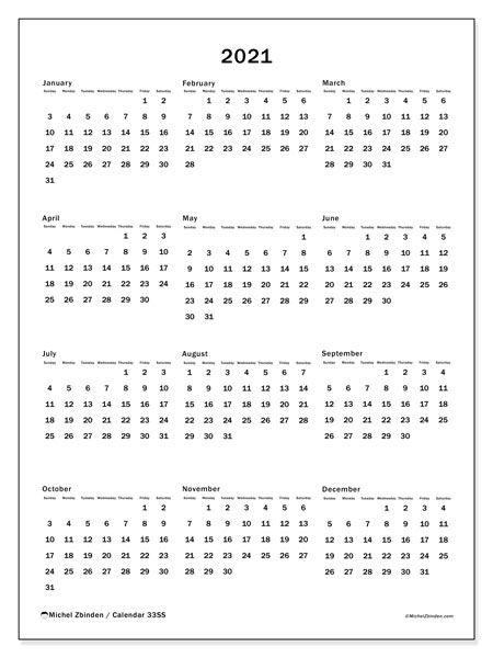 "2021 Calendars ""sunday Saturday"" Michel Zbinden En"