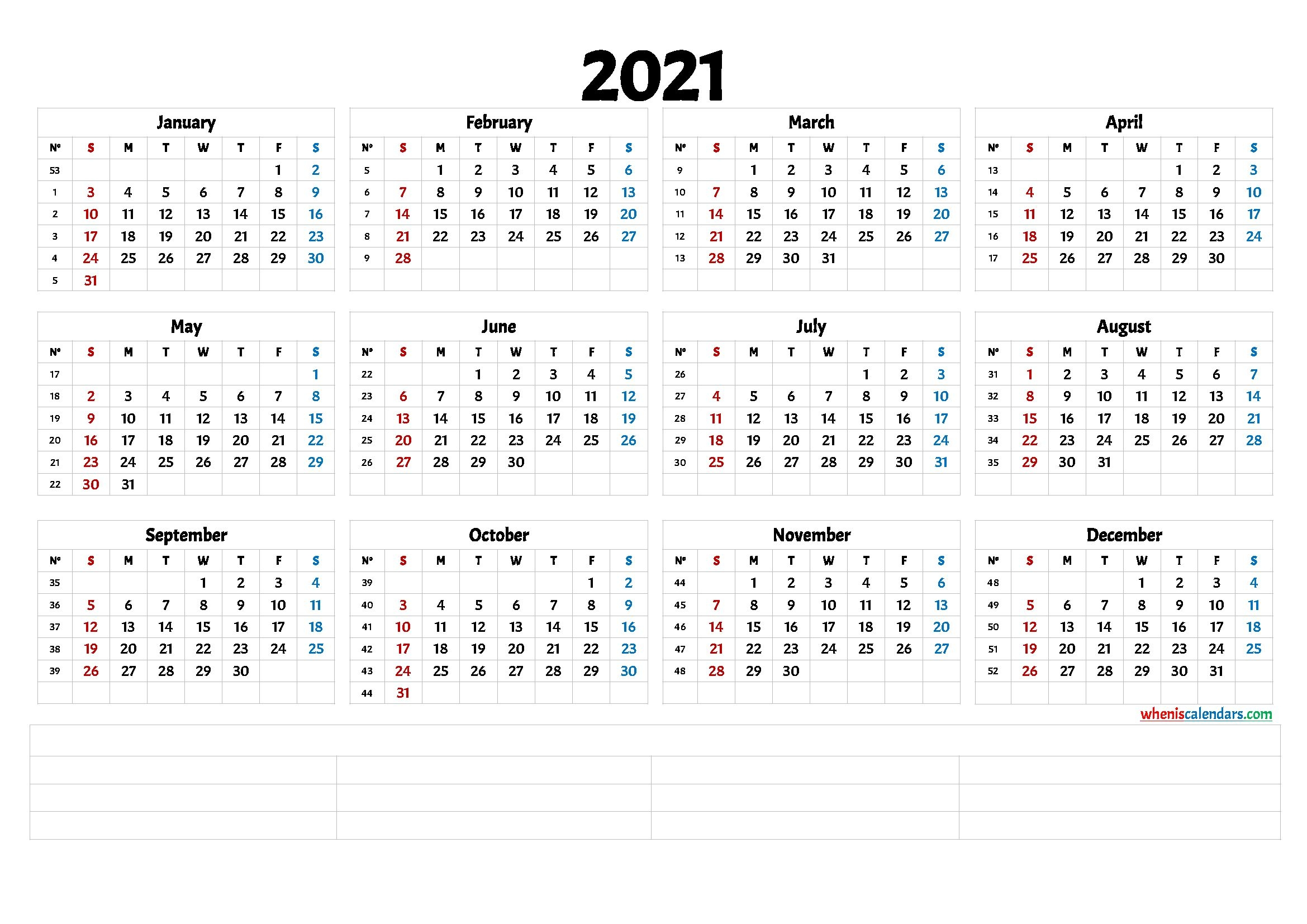 2021 free printable yearly calendar with week numbers (6
