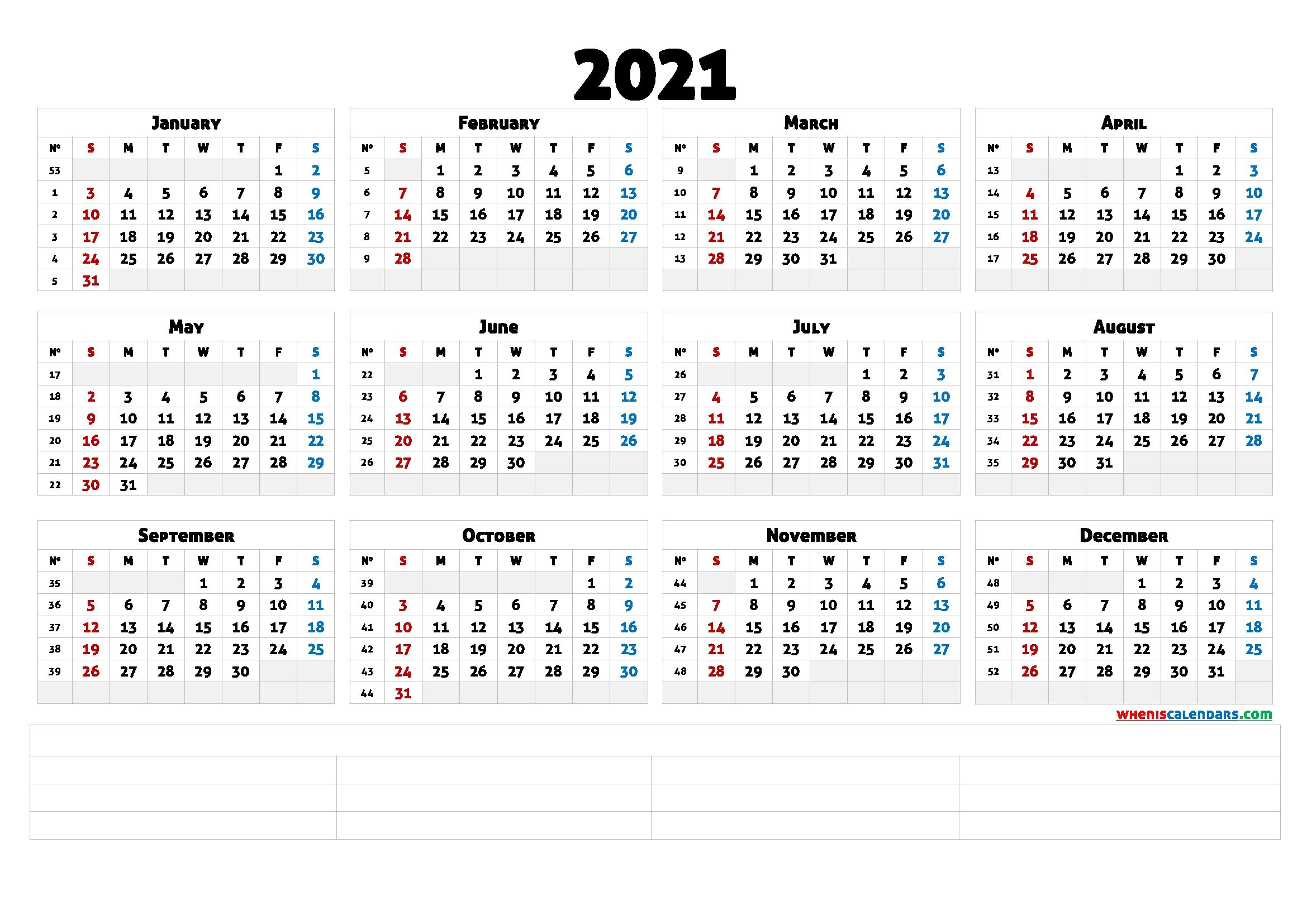 2021 Free Yearly Calendar Template Word (6 Templates)
