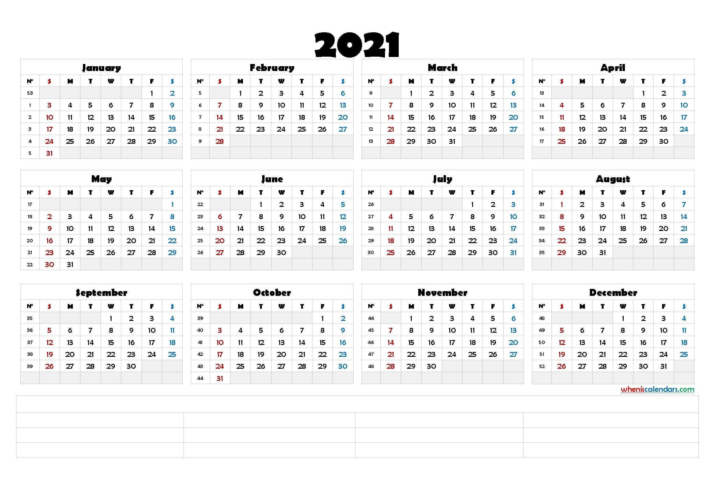 2021 Free Yearly Calendar Template Word Calendraex