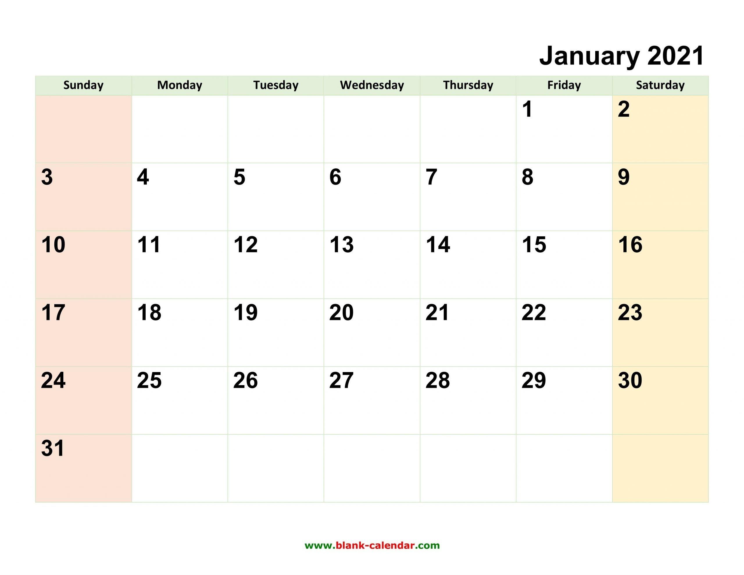 2021 Full Calendar With Spaces | Calendar Template Printable