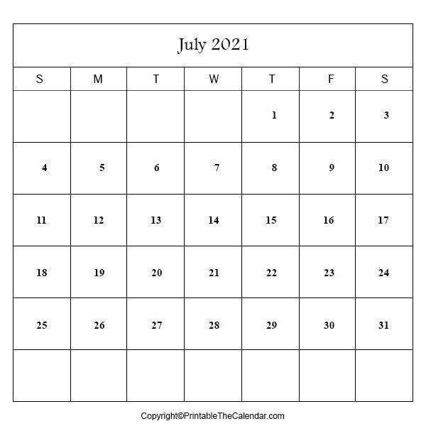 2021 july blank calendar | printable the calendar