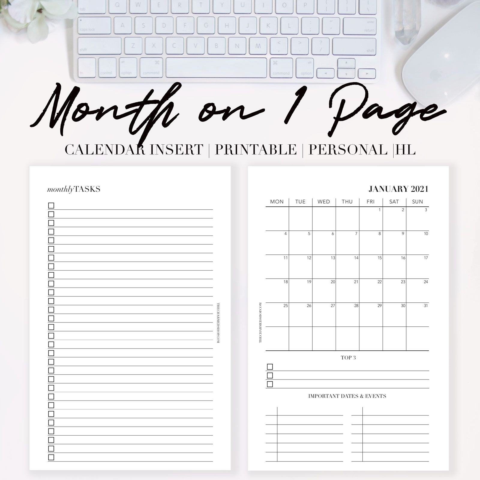 2021 Month On One Page Calendar {printable Pdf} The