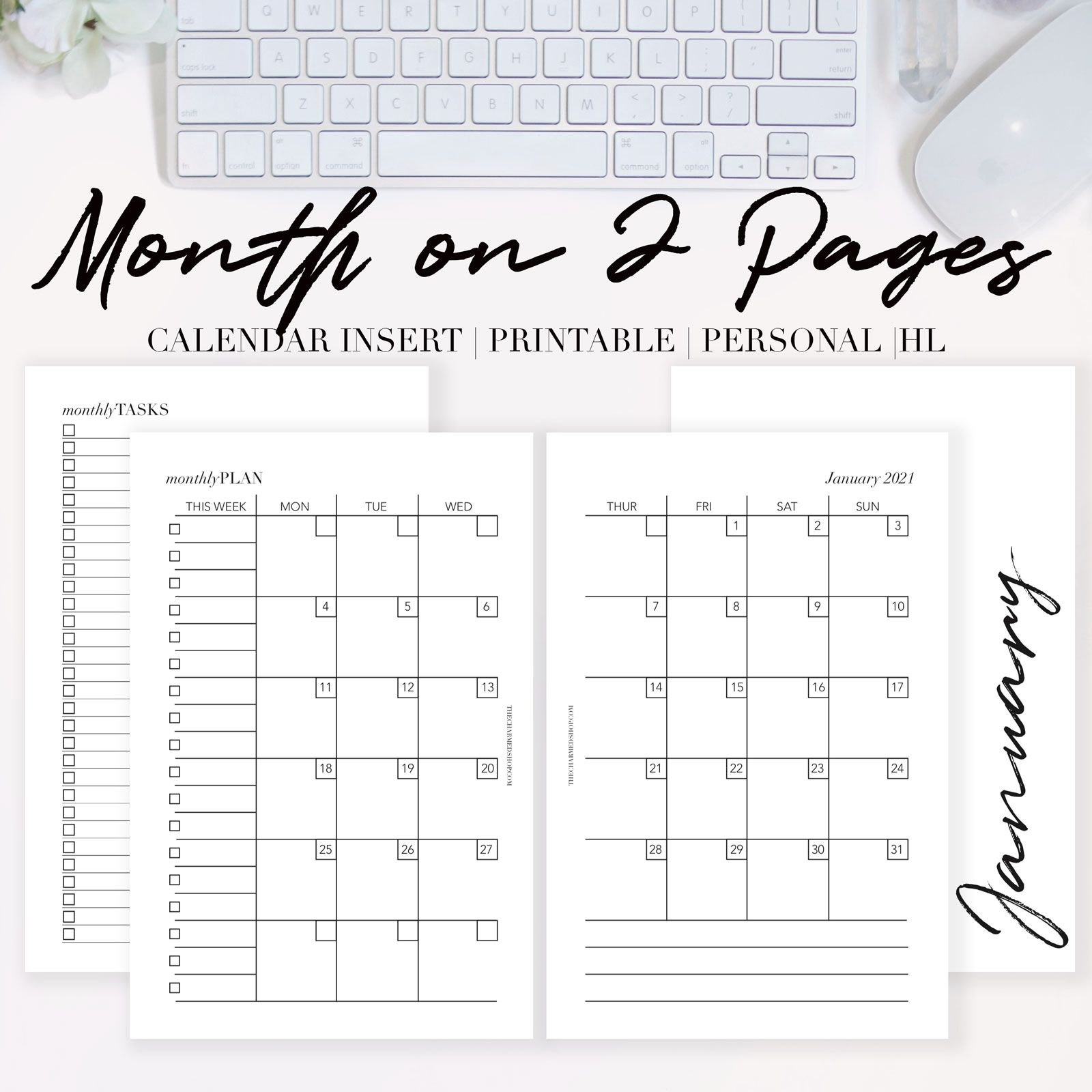 2021 month on two pages calendar {printable pdf} the