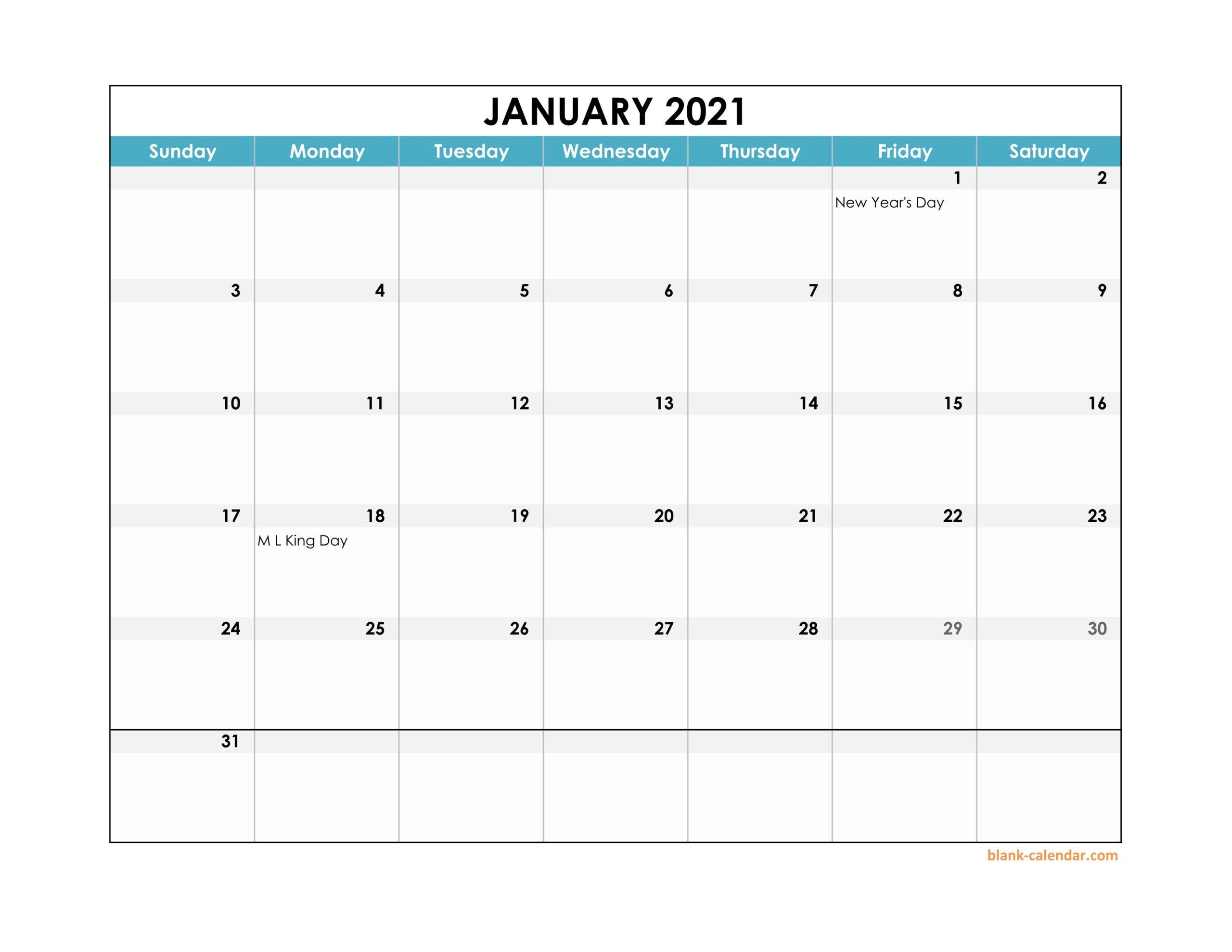 2021 Monthly Landscape Printable Calendar | Printable