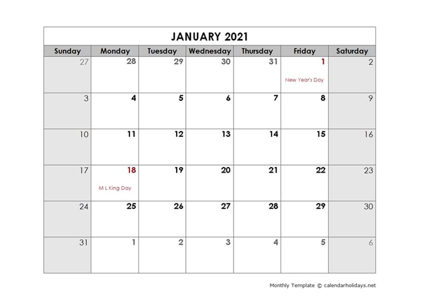 2021 Monthly Template Calendarholidays