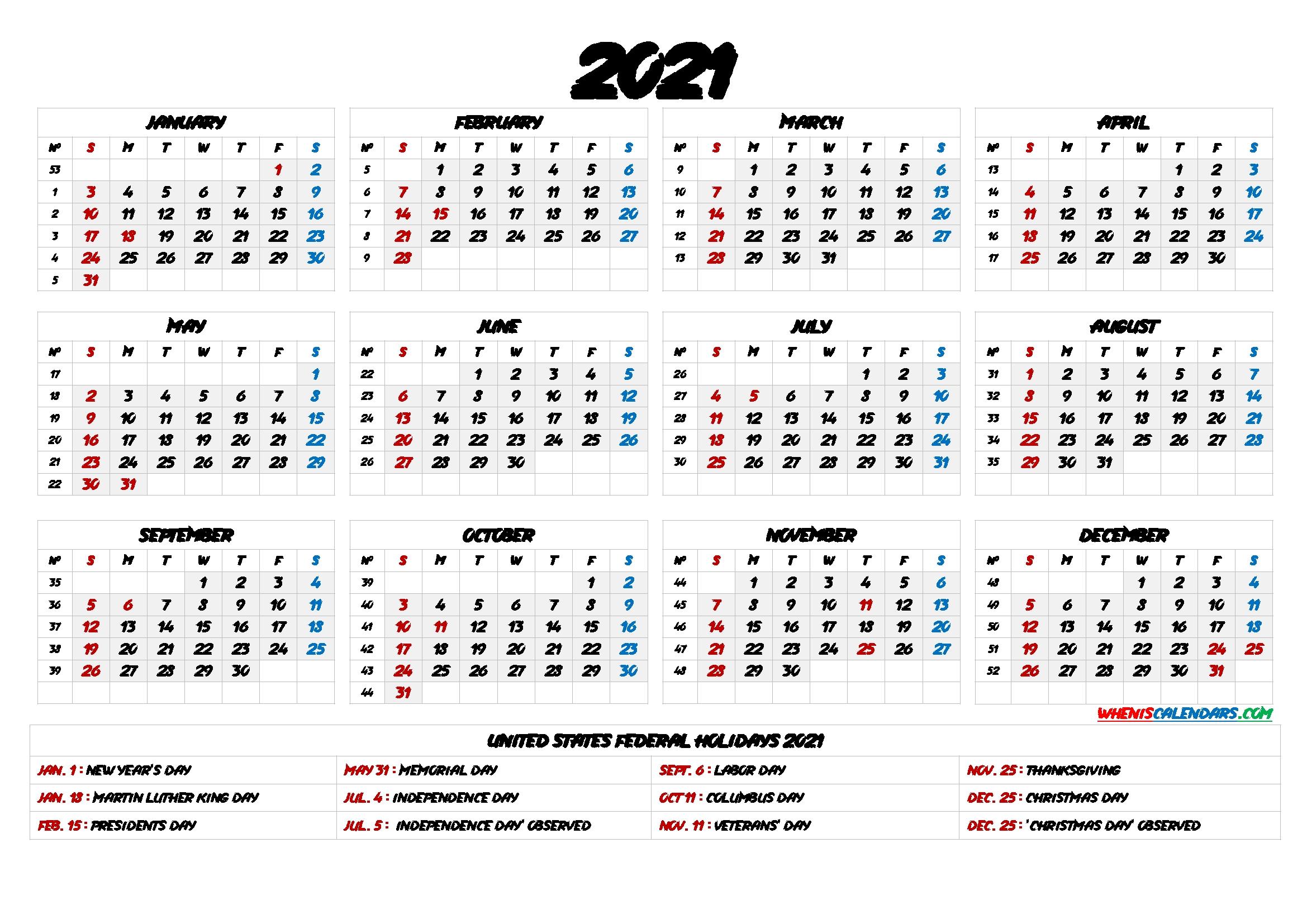 2021 one page calendar printable 6 templates | free