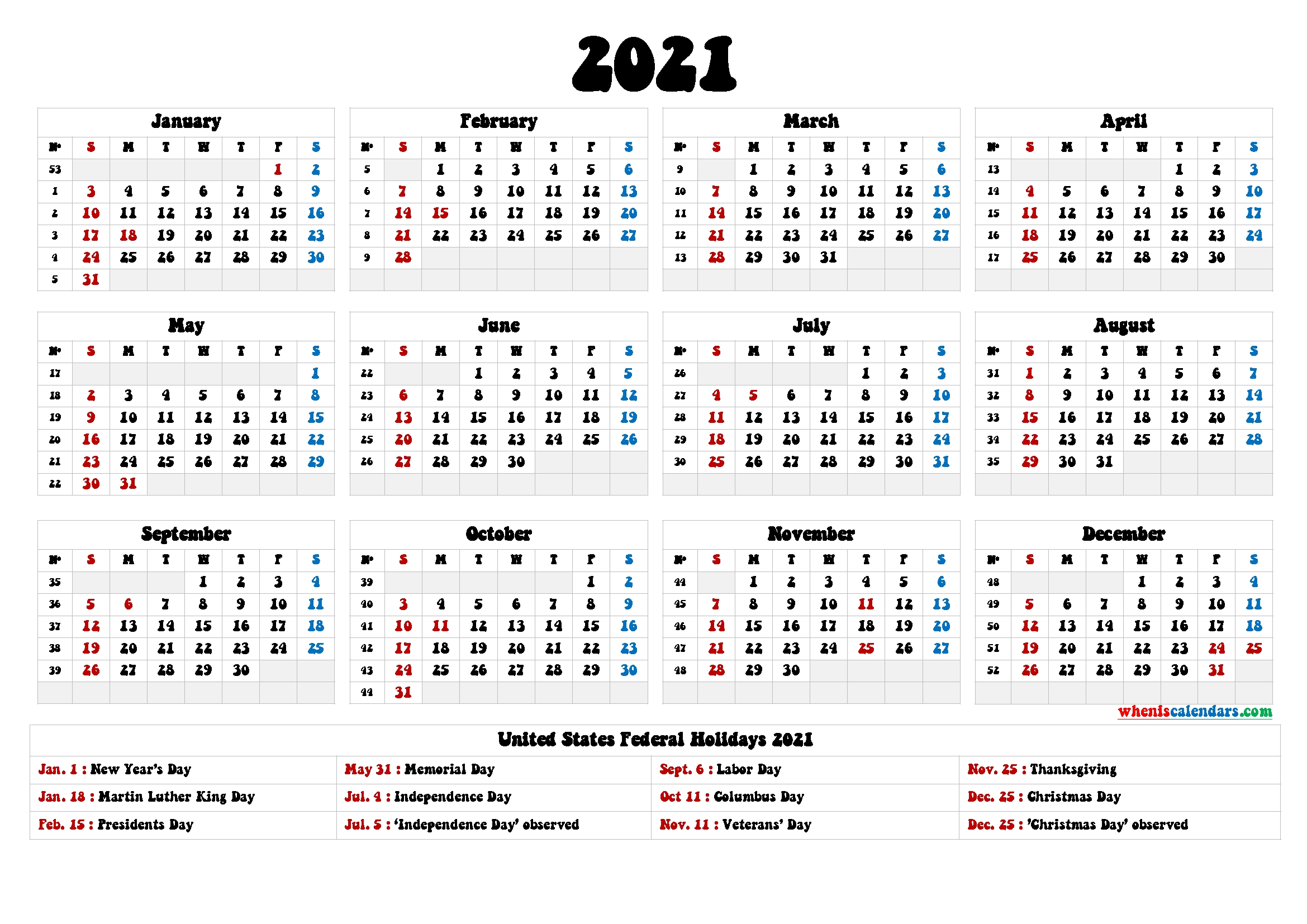 2021 One Page Calendar Printable 9 Templates