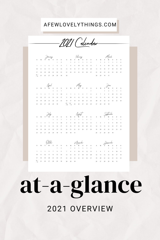 2021 Printable At A Glance Calendar