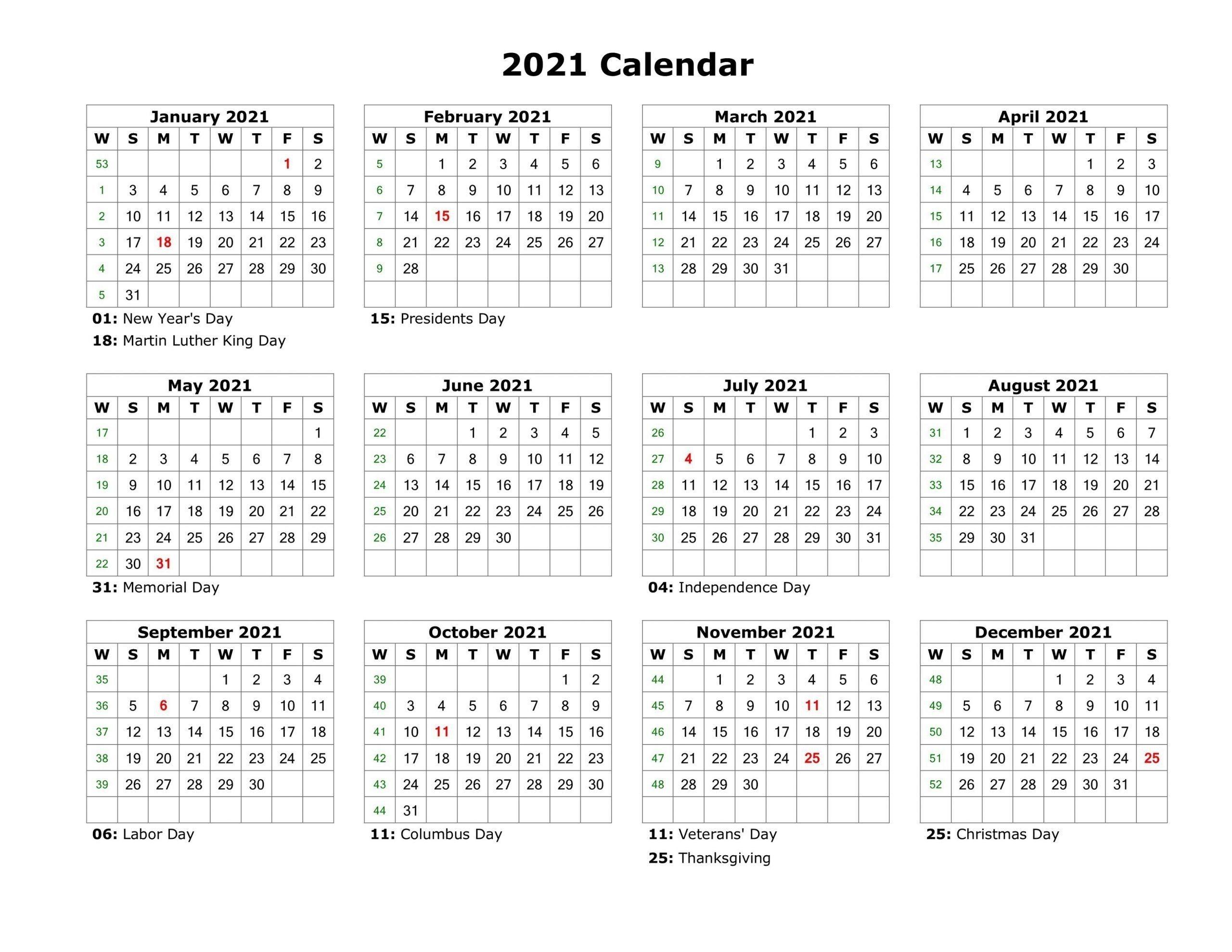 2021 printable calendar free full page template calendar