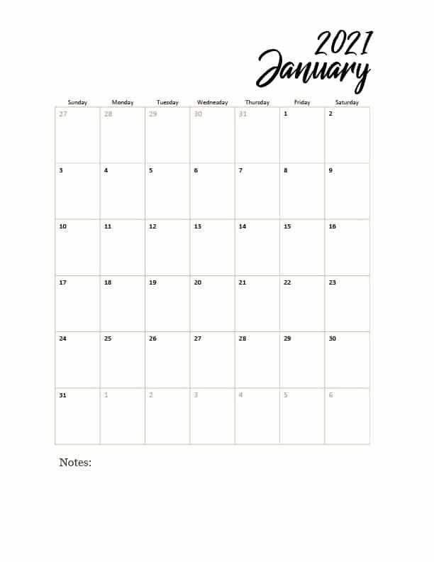 2021 Printable Calendar Free Strength Essence