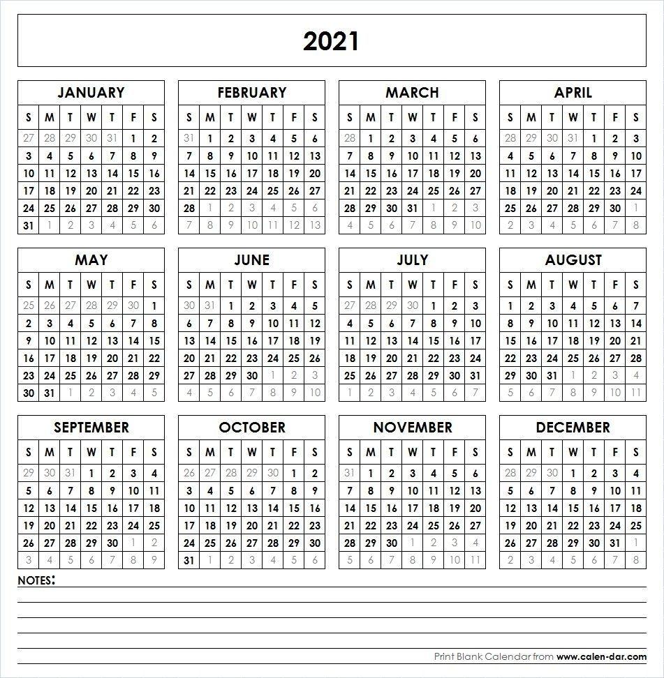2021 printable calendar one page