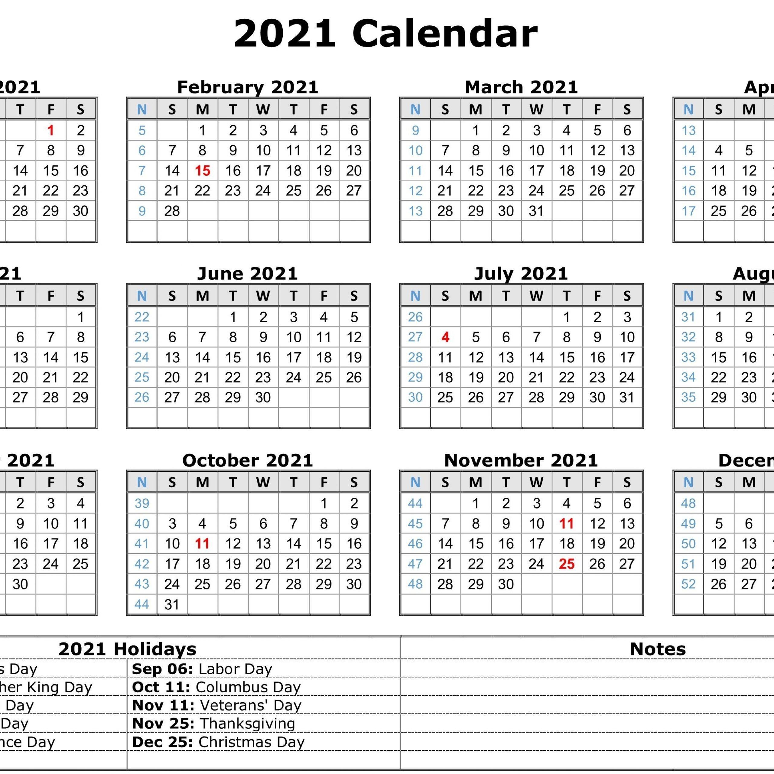 2021 printable calendar one page pdf | 2021 printable