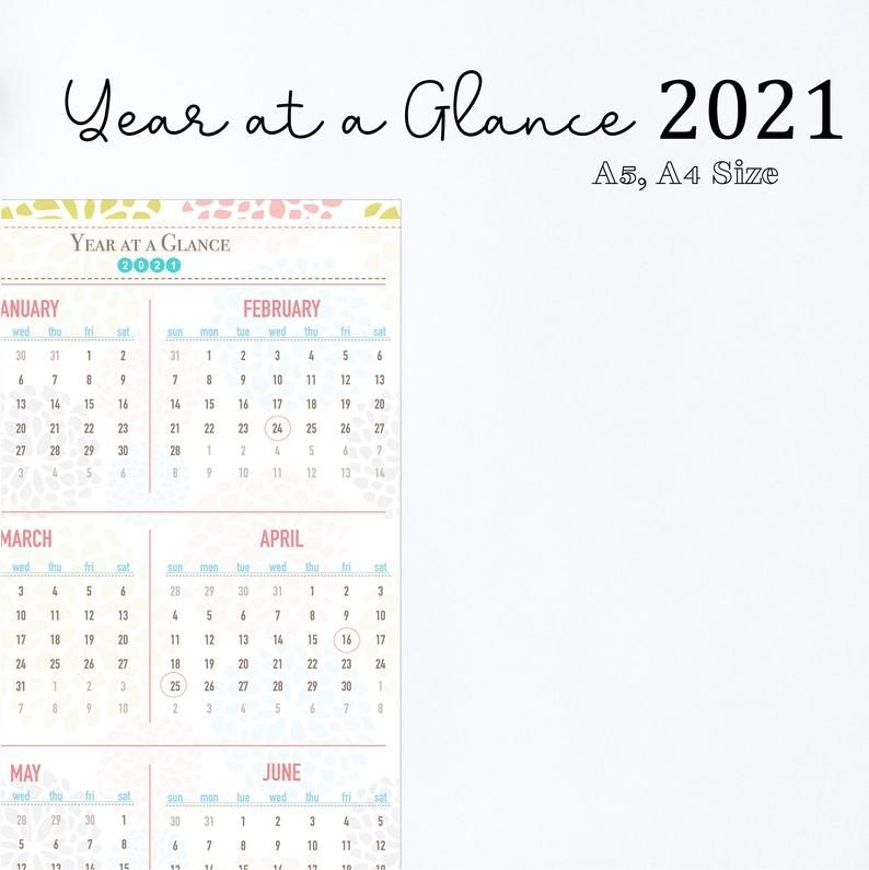 2021 printable calendar year at a glance 2021 calendar | etsy